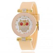 Женские часы Сова с силиконовым ремешком нюдовые