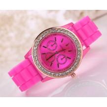 Часы женские GENEVA ЖЕНЕВА со стразами Темно-розовые