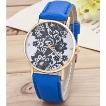 Часы Женева Geneva Кружево синий ремешок