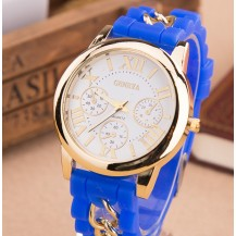 Часы Женева с силиконовым ремешком и цепочкой Синие