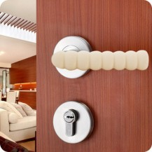 Мягкая защита на ручку двери от ударов Бежевая