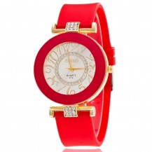 Часы женские силиконовый ремешок Красные 085-5