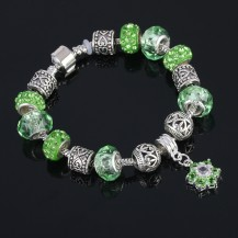 Браслет в стиле Пандора с подвеской Цветок зеленый tb1480