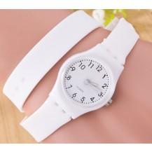 Часы-браслет на силиконовом ремешке Белые 096-1