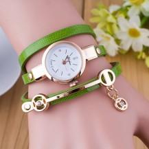 Часы-браслет длинные, наматывающиеся на руку 102-4 зеленые