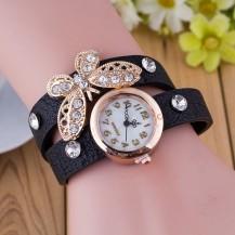 Часы-браслет длинные, наматывающиеся на руку Бабочка 103-2 черные
