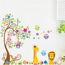 Интерьерная наклейка на стену Детская - Зверята JM7251