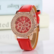 Часы женские Женева Geneva стразы два ряда красные 53-05