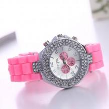 Часы со стразами Geneva Crystal женева Розовые 011-3