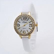 Часы женские на тонком силиконовом ремешке 110-4 Белые