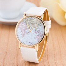 Часы Женева geneva Карта белый ремешок 142-1