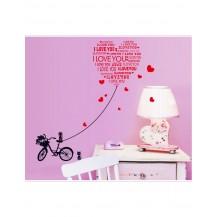 Интерьерная наклейка на стену Велосипед Любовь AY7132