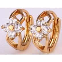 Серьги колечки с цветком позолота цирконы (GF515