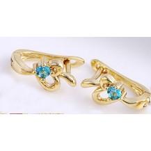 Серьги колечки позолота с голубым цирконом (GF520