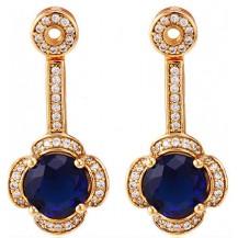 Серьги Luxury с темно-синим цирконом позолота (gf558