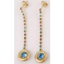 Серьги длинные с голубыми камнями позолота (gf559