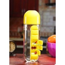 Бутылка для воды с органайзером для таблеток Pill & Vitamin Желтая