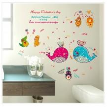 Детская интерьерная наклейка на стену Киты и звери  SK9092