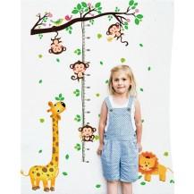 Детская интерьерная наклейка на стену ростомер Зверята SK9128
