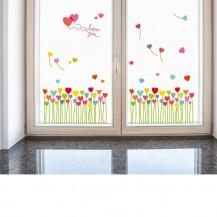 Интерьерная наклейка на стену Букет из сердечек SK7098