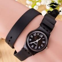 Часы-браслет на силиконовом ремешке Черные 096-2