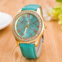 Часы женские GENEVA ЖЕНЕВА со стразами Питон Мята 138-2