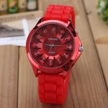 Часы женские Womage силиконовый ремешок Красные 068-4