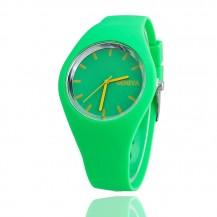 Часы женские Женева Geneva силиконовые зеленые 122-3