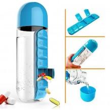 Бутылка для воды с органайзером для таблеток Pill & Vitamin Синяя