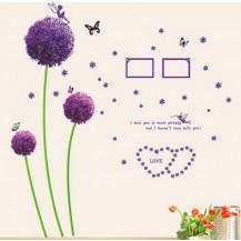 Интерьерная наклейка на стену Сиреневые цветы - большие (AY9015)