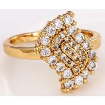 Кольцо Лист позолоченное gold filled с цирконами GF957 размер 17