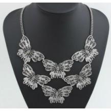 Ожерелье колье бабочки серебристое tb1206