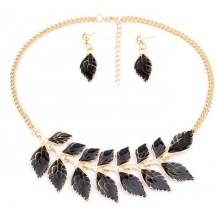 Набор ожерелье и серьги черное tb1216