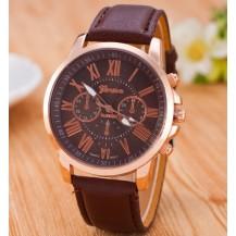 Часы Женева Geneva Римские цифры коричневые