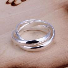 Кольцо Tiffany переплетение. Покрытие серебром. Размер 17.5 (TF-R167)