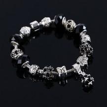 Браслет в стиле Пандора с подвеской Кристалл черный tb1302