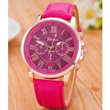 Часы Женева Geneva Римские цифры Темно-розовые