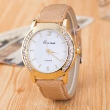Часы Женева Geneva Полукруг бежевый ремешок