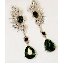 Серьги с зелеными кристаллами tb1144
