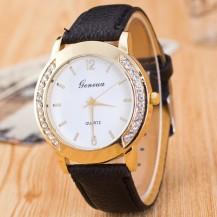 Часы Женева Geneva Полукруг черный  ремешок