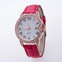 Часы женские Geneva Питон Стразы 100-3 коралловые
