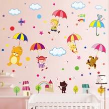 Интерьерная наклейка на стену Детская - Зонтики XL8217