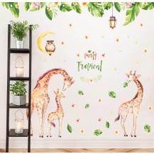Интерьерная наклейка на стену Детская - Жирафы Семья JM7333