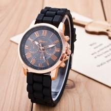 Часы Женева Geneva Римские цифры силиконовый ремешок Черные 147-4
