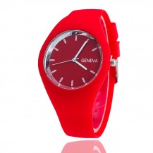 Часы женские Женева Geneva силиконовые красные 122-4