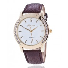 Часы Женева Geneva Полукруг коричневый ремешок