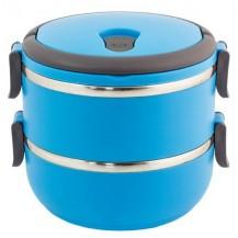 Термо ланч бокс две секции 1,4 л из нержавеющей стали. Синий