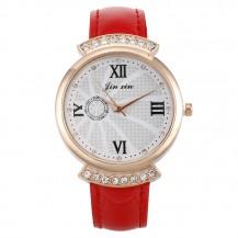 Женские часы JX стразы красные 131-2