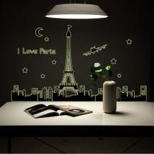 Интерьерная наклейка на стену Париж (светонакопительная) ABQ9602
