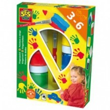 Пальчиковые краски - ЦВЕТНЫЕ ЛАДОШКИ (6 цветов в пластиковых баночках, кисточка)